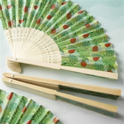Tropical Themed Expandable Fan with Pineapple and Green Leaf Design