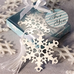 "This metal ""Let It Snow"" snowflake bookmark is an elegant favor for a holiday or winter wedding"
