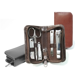 Personalized manicure set made in a bonded leather case