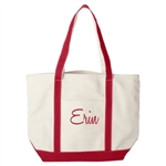 Custom embroidered large heavy duty canvas boat tote bridesmaid gift