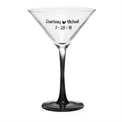 Personalized and Affordable 7.5 oz. Martini Glass with Colored Stem Wedding Favor