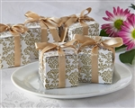 Classic Favor Box in Gold Damask Pattern