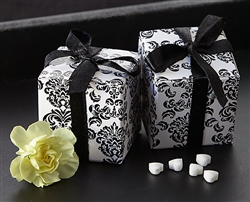 Elegant favor box in black and white damask pattern perfect for small wedding treats