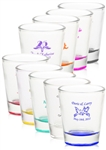 Personalized Affordable Clear Shot Glass with Colored Bottom wedding favor | Nuptial Necessities
