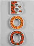 "Celebrate Halloween with this three-piece Ceramic dish set spelling out ""BOO"""
