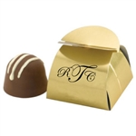 Chocolate Truffles in Personalized Gold Box wedding favor