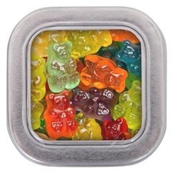 Delicious gummy bears in custom printed square tin make a perfectly sweet wedding favor