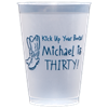 Custom printed 12 oz. shatterproof frosted cups for an affordable and practical wedding favor
