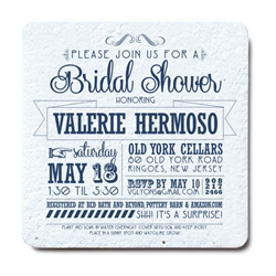 Custom printed coasters made out of hand-made seeded paper embedded with wildflower seeds