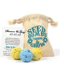 Seed bomb wedding favor in organic cotton bag