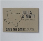 Texas themed save the date postcard on recycled kraft paper