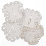 Lovely and elegant white shimmer laser cut table number cards