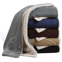 Give the gift of luxury with this extra large embroidered Sherpa Blanket