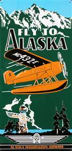 ART009 - Fly To Alaska Tin Sign
