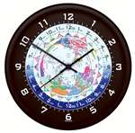 TRN-WTC04, World Time Clock- Black Frame- 10inch