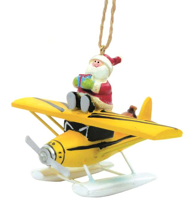 List Price: $14.95 - Yellow Plane / Santa Ornament Available From Airport Pilot Shop