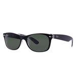 RB2132F-6052 New Wayfarer (f) - Top Black On Transparent w/Green lens