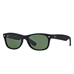RB2132F-622 New Wayfarer (f) - Black Rubber w/Crystal Green lens