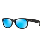 RB2132F-622/17 New Wayfarer (f) - Rubber Black w/Grey Mirror Blue lens