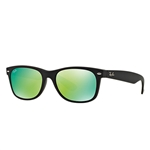 RB2132F-622/19 New Wayfarer (f) - Rubber Black w/Grey Mirror Green lens
