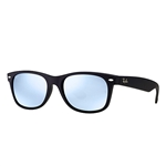 RB2132F-622/30 New Wayfarer (f) - Rubber Black w/Light Green Mirror Silver lens