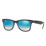RB2140F-11984O Wayfarer - Top Grad Grey On Blue w/Mirror Gradient Blue lens