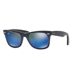 RB2140F-120368 Wayfarer - Top Blue Grad On Light Blue w/Mirror Blue lens