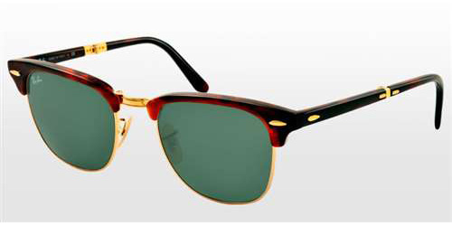68a36b70886 Sunglasses - Ray-Ban RB2176-990 - Clubmaster Folding - Red Havana w Crystal  Green lens