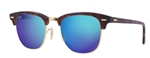 RB3016-114517 Clubmaster - Sand Havana/gold w/Grey Mirror Blue lens