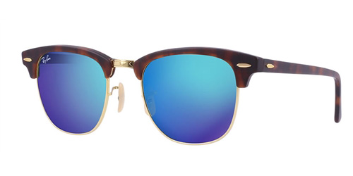 bf0ce713a4 Sunglasses - Ray-Ban RB3016-114517 - Clubmaster - Sand Havana gold w Grey  Mirror Blue lens