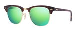 RB3016-114519 Clubmaster - Sand Havana/gold w/Grey Mirror Green lens