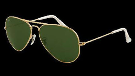 RB3025-001 Aviator Large Metal - Gold w/Grey Green lens
