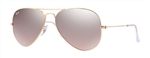 RB3025-001/3E Aviator Large Metal - Gold w/Crys.brown-pink Silver Mirror lens