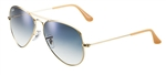 RB3025-001/3F Aviator Large Metal - Gold w/Crystal Gradient Light Blue lens