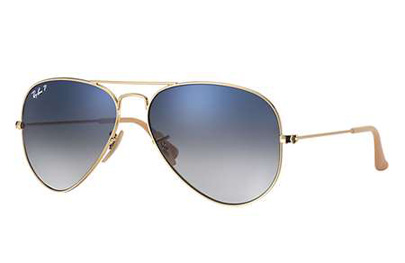 RB3025-001/78 Aviator Large Metal - Gold w/Gradient Blue Polar lens