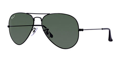RB3025-002/58 Aviator Large Metal - Black w/Crystal Green Polarized lens