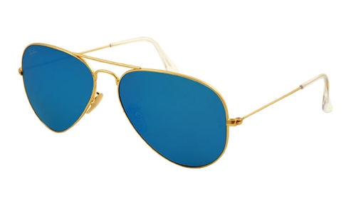 bbb3fd1f145d68 Sunglasses - Ray-Ban RB3025-112 17 - Aviator Large Metal - Matte Gold  w Cry.green Mirror Multil.blue lens