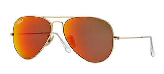 aa780f6e3b Sunglasses - Ray-Ban RB3025-112 4D - Aviator Large Metal - Matte Gold  w Brown Mirror Red Polar lens