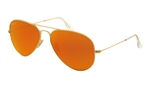 RB3025-112/69 Aviator Large Metal - Matte Gold w/Crystal Brown Mirror Orange lens