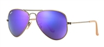 RB3025-167/1M Aviator Large Metal - Brushed Bronze Demi Shiny w/Grey Mirror Purple lens
