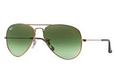 RB3025-9002A6 Aviator Large Metal - Shiny Medium Bronze w/Green Gradient Brown lens