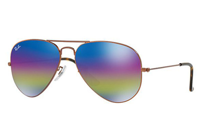 RB3025-9019C2 Aviator Large Metal - Metallic Dark Bronze w/Light Grey Mirror Rainbow 2 lens