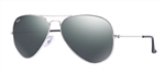RB3025-W3277 Aviator Large Metal - Silver w/Crystal Grey Mirror lens