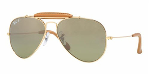 RB3422Q-001/M9 Aviator Craft - Arista/light Brown Leather w/Green Gradient Blue+ Polar Ar lens