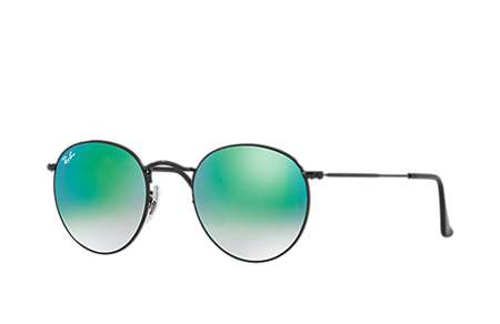 f7719af758 Sunglasses - Ray-Ban RB3447-002 4J - Round Metal - Shiny Black w Mirror  Gradient Green lens