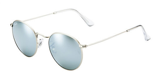 edaf7720eed5 Sunglasses - Ray-Ban RB3447-019 30 - Round Metal - Matte Silver w Light  Green Mirror Silver lens