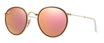 RB3517-001/Z2 Round - Gold w/Brown Mirror Pink lens
