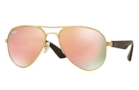 c8cef6bc203 Sunglasses - Ray-Ban RB3523-112 2Y - - Matte Gold w Light Brown Mirror Pink  lens