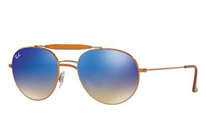 6a24102198ae15 Sunglasses - Ray-Ban RB3540-198 8B - - Shiny Bronze w Blue Flash Gradient  lens