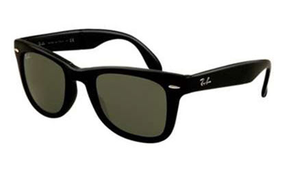 RB4105-601S Folding Wayfarer - Matte Black w/Crystal Green lens